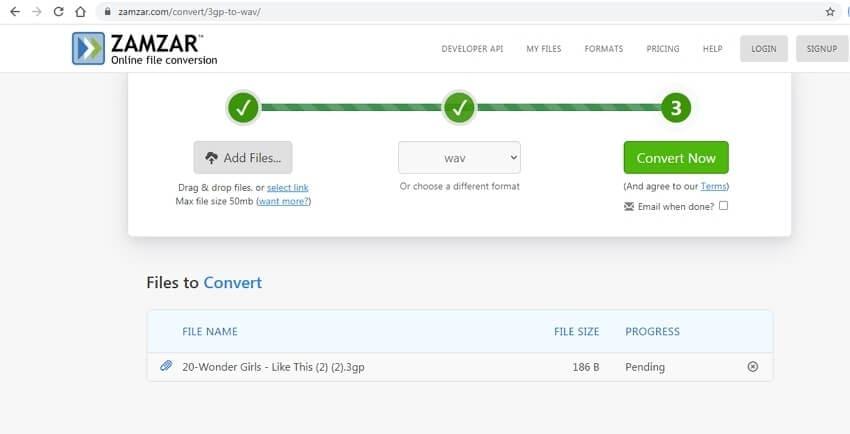 Convert 3GP to WAV online - Zamzar
