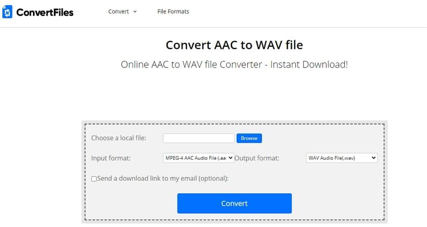 Online AAC to WAV Converter - ConvertFiles