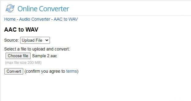 Online AAC to WAV Converter -  OnlineConverter