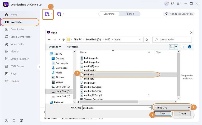 Add DTS files to Wondershare Video Converter