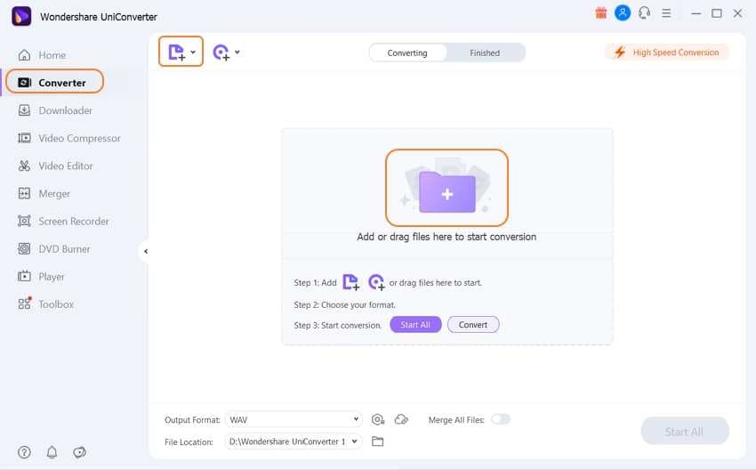 Add .wav files to UniConverter