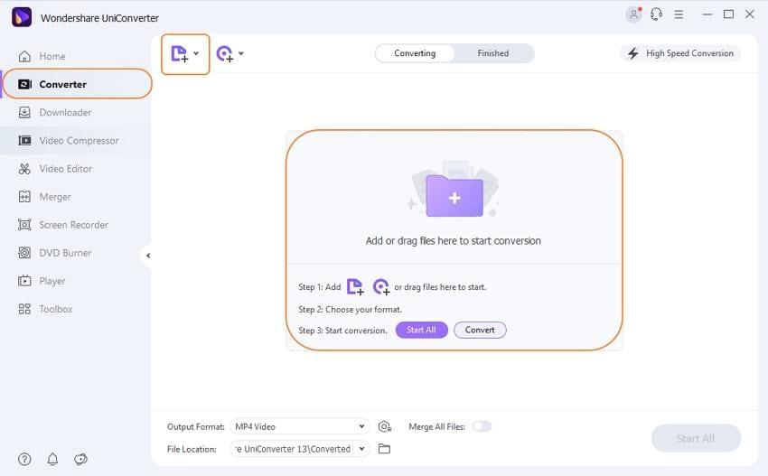 Add WAV files to convert in UniConverter