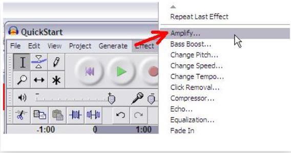 Verstärkungseinstellungen zum Ändern der Lautstärke einer WAV-Datei in Audacity