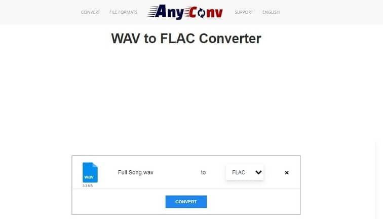 Convert WAV to FLAC online with AnyConv