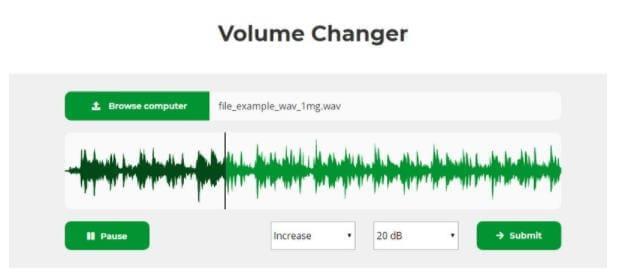 WAV Lautstärke online erhöhen - Audioalter Volume Changer