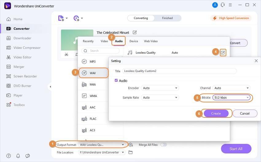 Change WAV files' bitrate in UniConverter