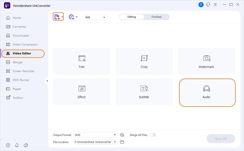 Go to Wondershare Video Editor section