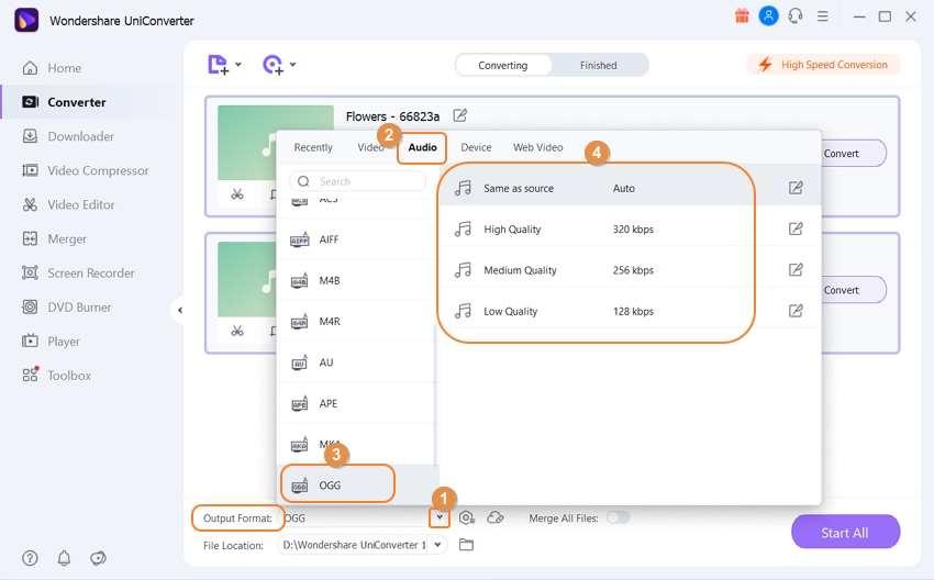Select WAV as the putput format