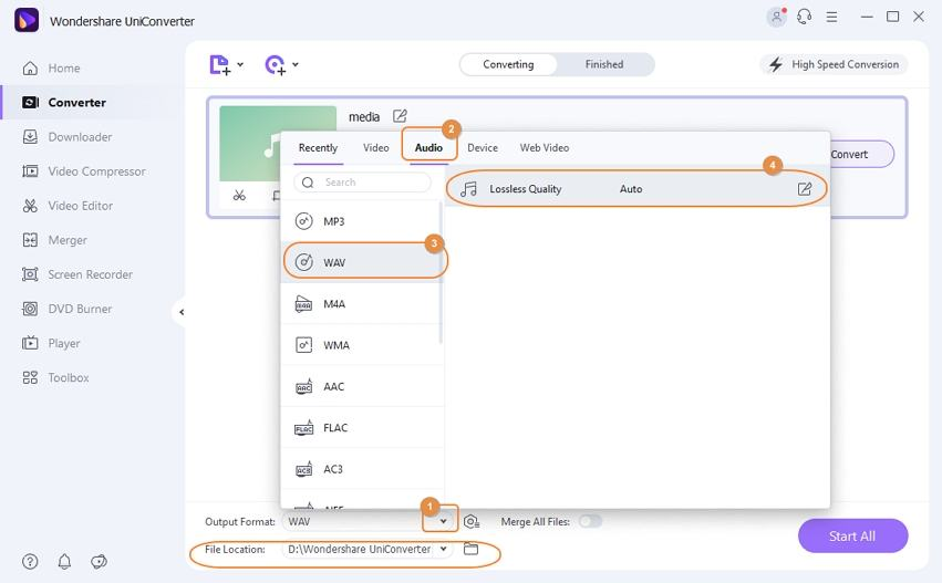 Choose WAV as output format