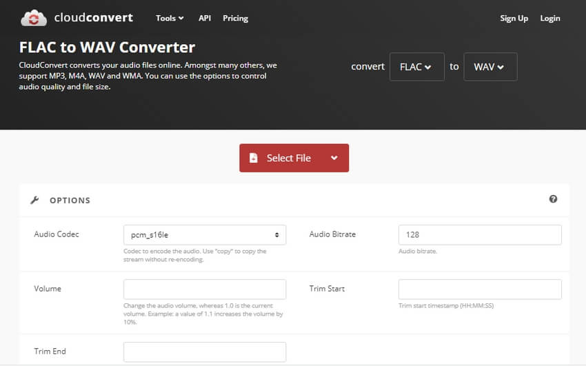 Convert FLAC to WAV with CloudConvert