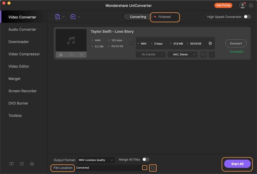 Convert M4A to WAV in Wondershare UniConverter for Mac