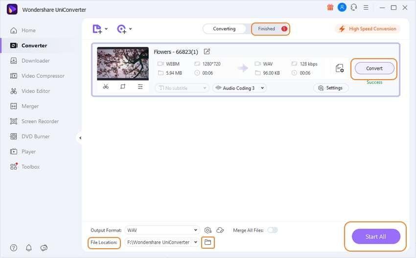 Convert WebM to WAV in UniConverter