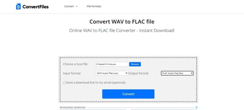 Convert WAV to FLAC online with ConvertFiles