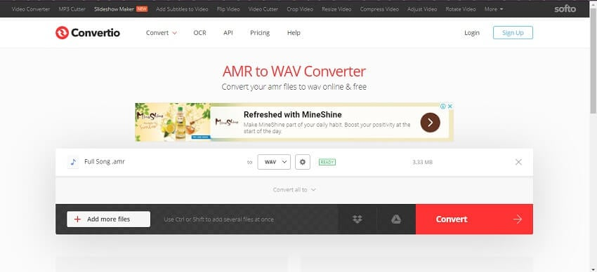 Extract WAV from AMR using Convertio