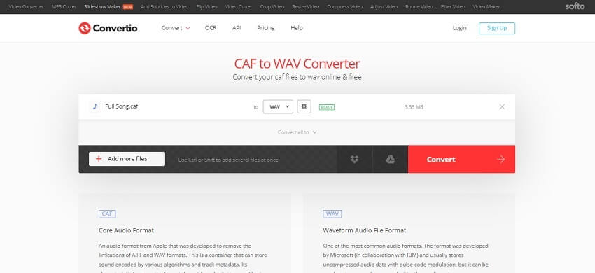 Convert CAF to WAV in Convertio