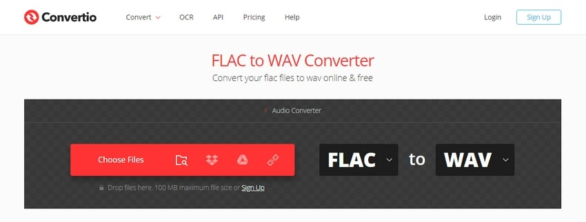 Convert FLAC to WAV with Convertio