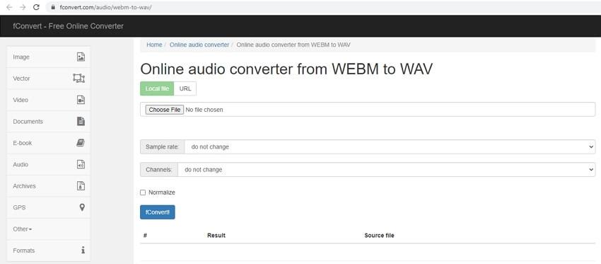 WebM to WAV - fConvert