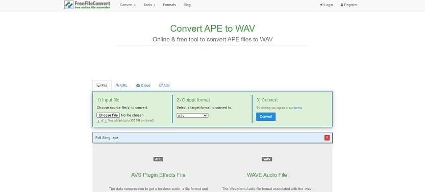 Online ape to wav converter - FreeFileConvert