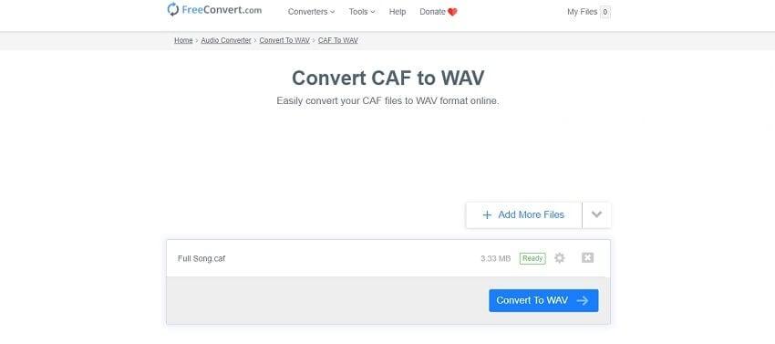 FreeConvert CAF to WAV converter