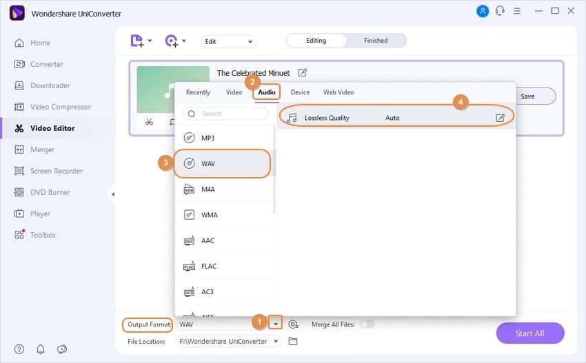 Convert WAV to desired format in UniConverter