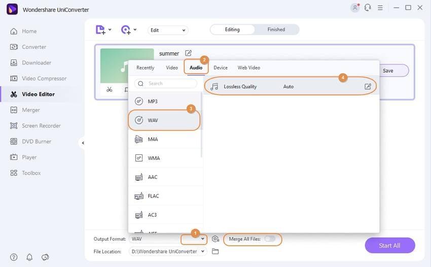 merge and convert WAV files