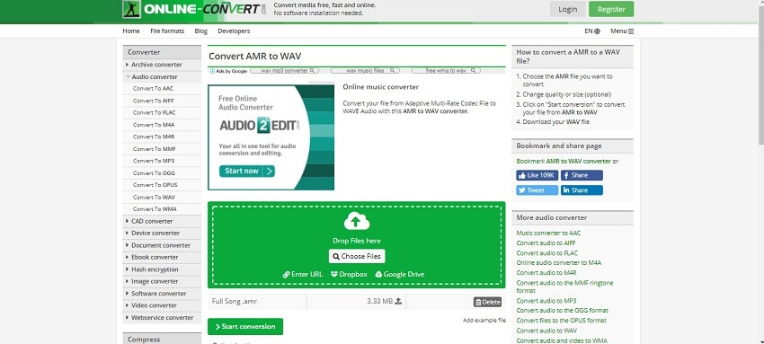 Convert AMR to WAV in Online-Convert
