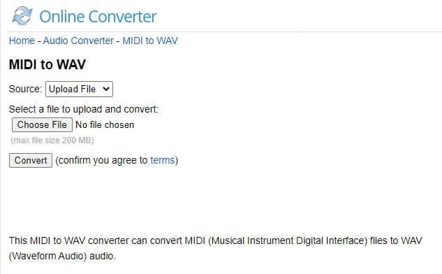 Online Converter MIDI to WAV Converter