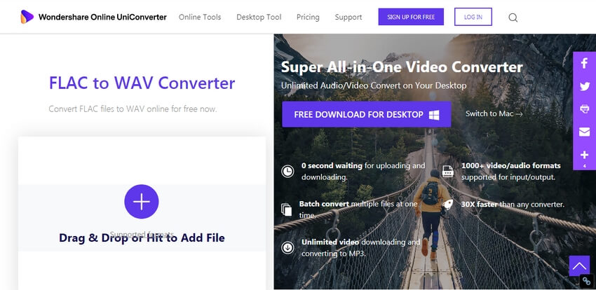 Convert FLAC to WAV with Online UniConverter