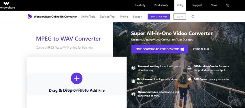 Convert MPEG to WAV with Online UniConverter