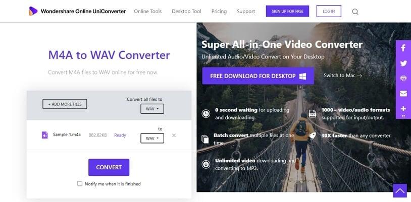 M4A to WAV Converter - Online UniConverter