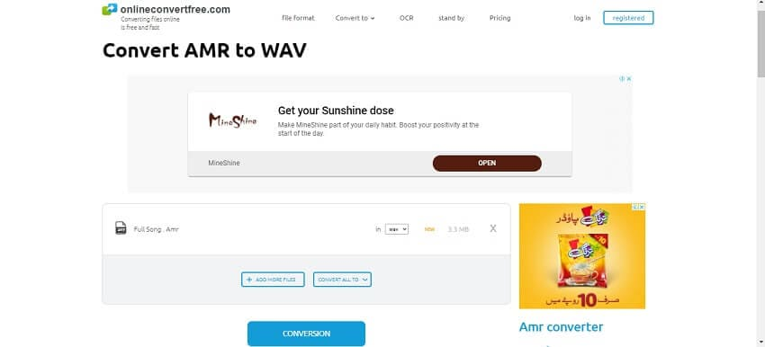 Change AMR into WAV with OnlineConvertFree