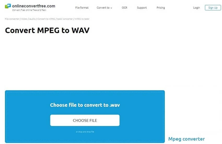 Convert MPEG to WAV with OnlineConvertFree