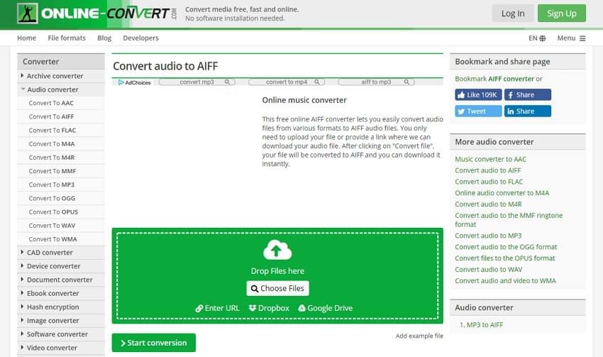 WAV to AIFF converter - Online-Convert