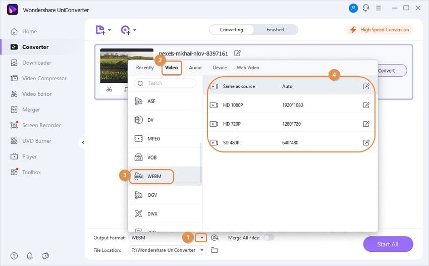 set webm as output format