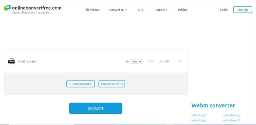 webm to mp3 online converter