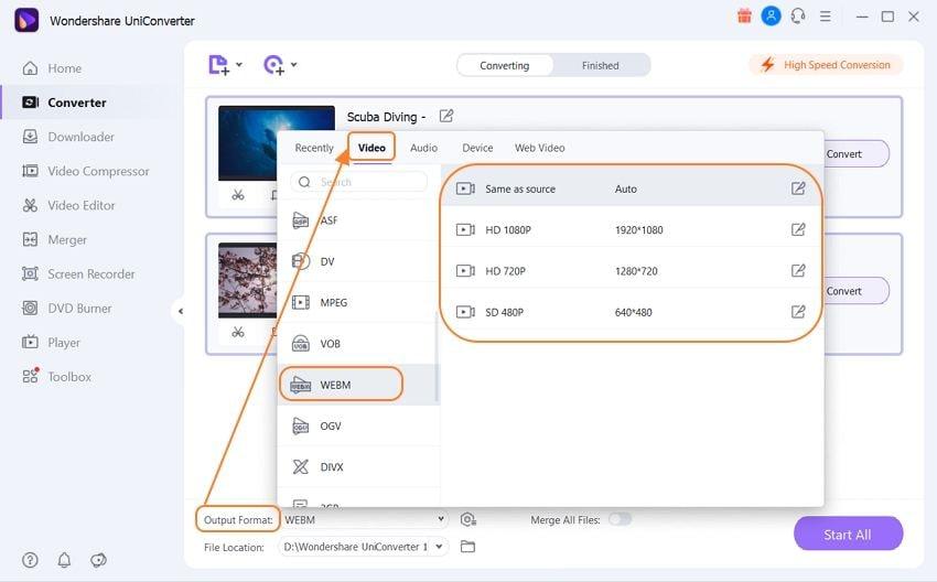 choose webm as the target format