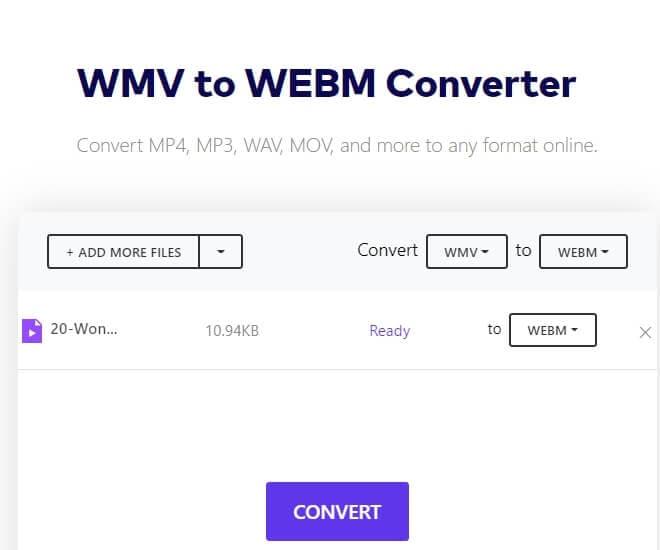 convert wmv files to webm