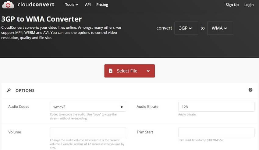 Convert 3GP to WMA with CloudConvert