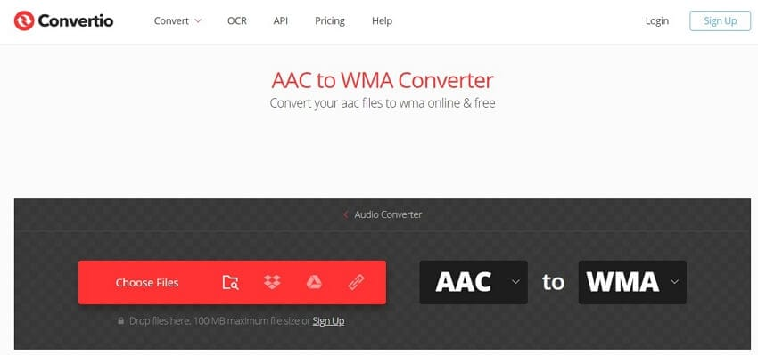 Convert AAC to WMA with Convertio