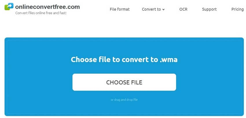 Convert AAC to WMA with Onlineconvertfree