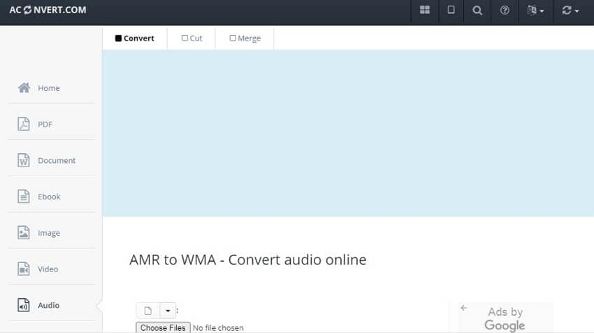 Convert AMR to WMA online with AConvert
