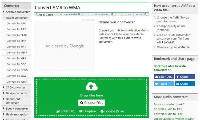 Convert AMR to WMA online with Online Convert