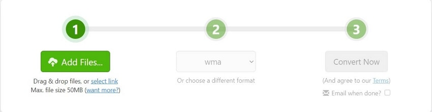 Convert M4A to WMA with Zamzar