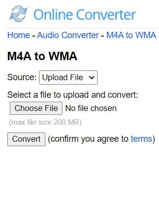 Convert M4A to WMA with Online Converter