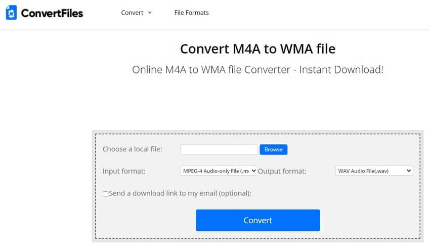 Convert M4A to WMA with ConvertFiles
