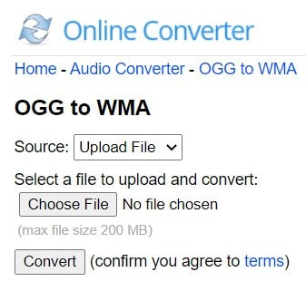 Convert OGG to WMA with Online Converter