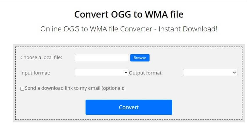 Convert OGG to WMA with ConvertFiles