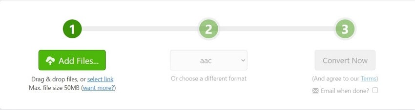Convert WMA to AAC with Zamzar