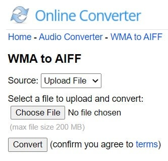 Convert WMA to AIFF with Online Converter