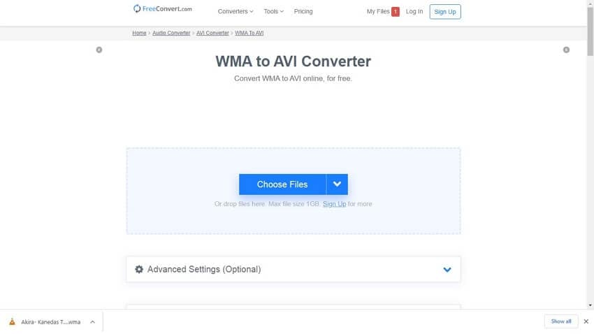 convert WMA to AVI online with Freeconvert